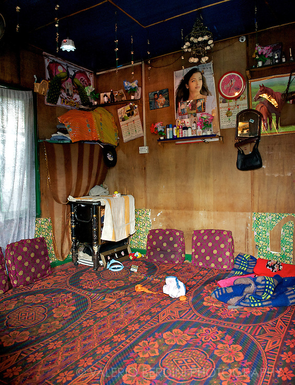 A bedroom of a typical house on the Dal Lake in Kashmir.<br /> India