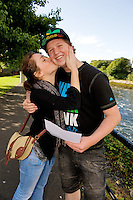 Slovak David Simo who was really happy with his leaving cert results haven lived in Galway for the last 8 years was congratulated by Jolana Bonboba. photo:Andrew Downes