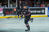 KELOWNA, CANADA - FEBRUARY 14:  Grayson Pawlenchuk #16 of the Red Deer Rebels takes a shot during warm up against the Kelowna Rockets on February 14, 2018 at Prospera Place in Kelowna, British Columbia, Canada.  (Photo by Marissa Baecker/Shoot the Breeze)  *** Local Caption ***