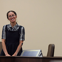 Ruth River smiles after being cross-examined by the prosecution on Monday morning of the Green trial at the 13th Judicial District Courthouse in Grants.