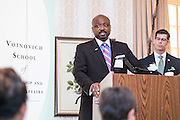 Kenneth N. Wilson addresses attendees at the Ohio University State Government Alumni Luncheon after being named the Oustanding State Government Alumnus on Tuesday, May 5, 2015.  Photo by Ohio University  /  Rob Hardin