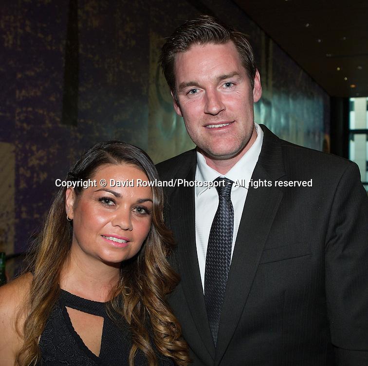 Dillon Boucher and wife Nikki at the Skycity Breakers Awards, 2013-14, Skycity Convention Centre, Auckland, New Zealand, Friday, March 28, 2014. Photo: David Rowland/Photosport