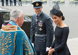 © Licensed to London News Pictures. 10/07/2018. London, UK. The Duke and Sussex and Meghan, Duchess of Sussex attends a service at Westminster Abbey to make the100th anniversary of the Royal Air Force at Westminster Abbey. The RAF, the world's first independent air force was founded on 1 April 1918, independent of the British Army and Royal Navy. Photo credit: Ray Tang/LNP