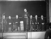 09/04/1961<br /> 04/09/1961<br /> 09 April 1961<br /> Opening of Thurles Drama Festival at Premier Hall, Thurles, Co. Tipperary, organised by Muintir na Tíre and Gael Linn.  The Archbishop of Cashel Thomas Morris address's the crowd at the play .Presidnt de Valera third from left.