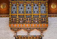 PUNAKHA, BHUTAN - CIRCA October 2014: Architectural detail inside the Punakha Dzong, a landmark in Punakha, Bhutan