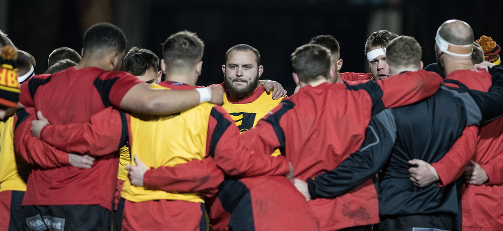 Dragons' Gerard Ellis listens to the pre match team talk.<br /> <br /> Photographer Simon Latham/Replay Images<br /> <br /> Guinness PRO14 - Dragons v Edinburgh - Friday 23rd February 2018 - Eugene Cross Park - Ebbw Vale<br /> <br /> World Copyright © Replay Images . All rights reserved. info@replayimages.co.uk - http://replayimages.co.uk