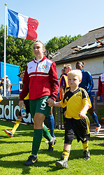 HAVERFORDWEST, WALES - Sunday, August 25, 2013: Wales' Rhian Cleverly walks out before the Group A match against France of the UEFA Women's Under-19 Championship Wales 2013 tournament at the Bridge Meadow Stadium. (Pic by David Rawcliffe/Propaganda)