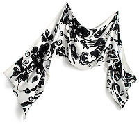 Black and white floral silk scarf on white background