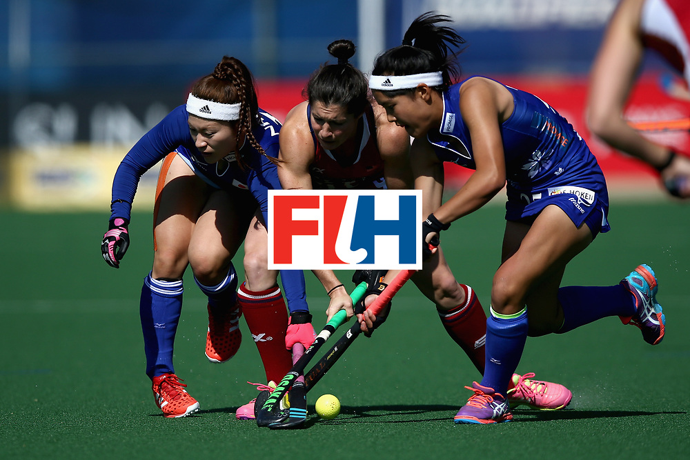 JOHANNESBURG, SOUTH AFRICA - JULY 18: Michelle Vittese of the United States attempts to keep possesion while under pressure from Hazuki Nagai of Japan and Motomi Kawamura of Japan during the Quarter Final match between the United States and Japan during the FIH Hockey World League - Women's Semi Finals on July 18, 2017 in Johannesburg, South Africa.  (Photo by Jan Kruger/Getty Images for FIH)