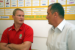 Edi Koksarov and director Mijo Zorko at press conference of handball club RK Celje Pivovarna Lasko before new season 2008/2009, on September 2, 2008 in Celje, Slovenia. (Photo by Vid Ponikvar / Sportal Images)