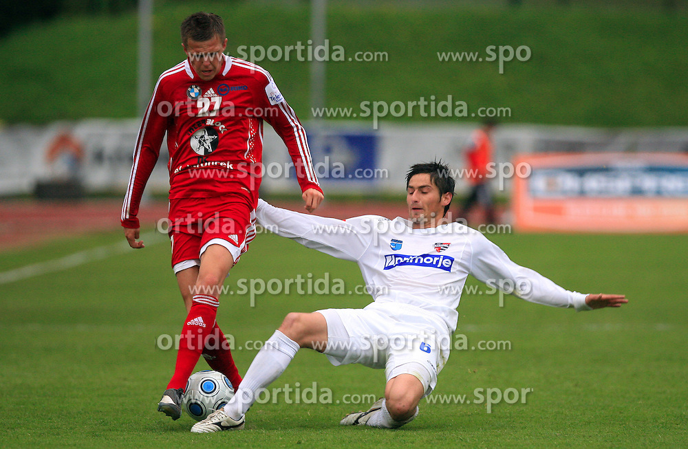 Josip Ilicic  of Interblock  vs Goran Blagus of Primorje at 29th Round of Slovenian First League football match between NK Interblock and NK Primorje at ZAK Stadium, on April 20, 2009, in Ljubljana, Slovenia. (Photo by Vid Ponikvar / Sportida)