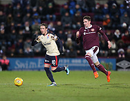 12th December 2017, Tynecastle Park, Edinburgh, Scotland; Scottish Premier League football,  Heart of Midlothian versus Dundee; Dundee's Scott Allan goes away from Hearts' Kyle Lafferty