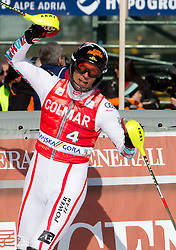 Mario Matt of Austria celebrates during 2nd Run of Men's Slalom of FIS Ski World Cup Alpine Kranjska Gora, on March 6, 2011 in Vitranc/Podkoren, Kranjska Gora, Slovenia.  (Photo By Vid Ponikvar / Sportida.com)
