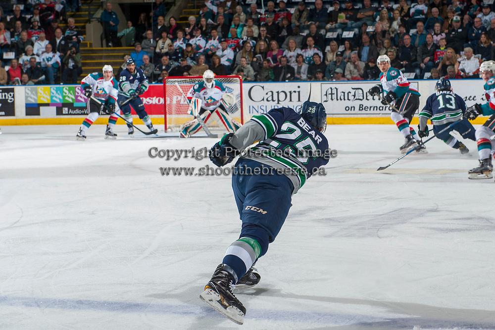 KELOWNA, CANADA - APRIL 25: Ethan Bear #25 of the Seattle Thunderbirds takes a shot on net from the blue line against the Kelowna Rockets on April 25, 2017 at Prospera Place in Kelowna, British Columbia, Canada.  (Photo by Marissa Baecker/Shoot the Breeze)  *** Local Caption ***