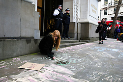 © Licensed to London News Pictures. 10/01/2020. London, UK. A protester writes a message on the pavement outside High Commission of Australia in central London as <br /> hundreds of Australians and campaigners from Extinction Rebellion climate change movement group protest against the Australian government's failure to respond to the bush fires and address the climate and ecological crisis. Photo credit: Dinendra Haria/LNP