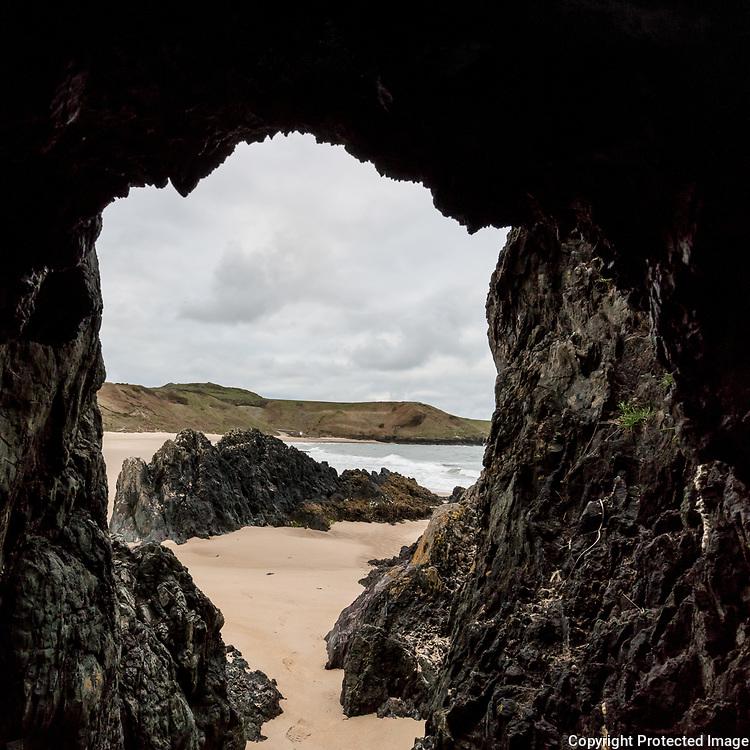 Cave at Porthor (Whistling Sands) Beach, Llŷn Peninsula, Gwynedd.