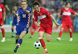 Luka Modric of Croatia vs Tuncay Sanli of Turkey during the UEFA EURO 2008 Quarter-Final soccer match between Croatia and Turkey at Ernst-Happel Stadium, on June 20,2008, in Wien, Austria. Turkey won after penalty shots. (Photo by Vid Ponikvar / Sportal Images)
