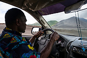 My driver concentrates on driving across the ash plains towards Mt Yasur on the East side of Tanna Island.