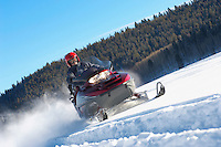 Man Snowmobiling through snow in front of forest low angle view.