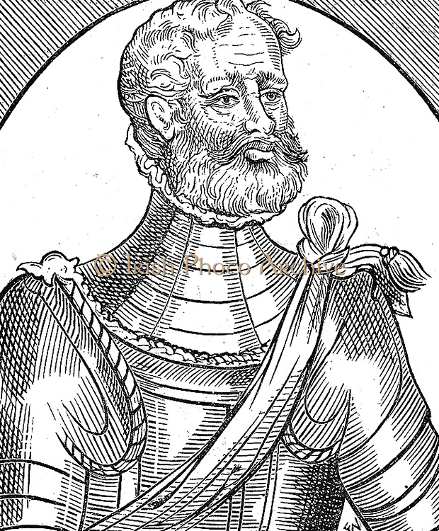 A Martialist.  Wodcut from George Whetstone 'Honourable Reputation of a Soldier' (1585)