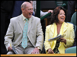 Geoffrey Boycott in the Royal Box during Mariana Duque Marino from Colombia and <br /> Laura Robson of Great Britain game on Centre Court on day 5 of The All England Lawn Tennis Club, Wimbledon, United Kingdom, Robson went on to win the game.<br /> Friday, 28th June 2013<br /> Picture by Andrew Parsons / i-Images
