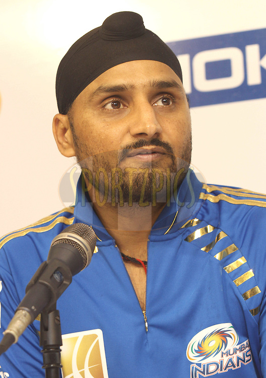 Mumbai Indians captain Harbhajan Singh during the post match press conference during the 2nd Semi Final of the NOKIA Champions League T20 ( CLT20 ) between Somerset and the Mumbai Indians held at the M. A. Chidambaram Stadium in Chennai , Tamil Nadu, India on the 8th October 2011..Photo by Shaun Roy/BCCI/SPORTZPICS