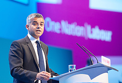 Labour Party Annual Conference 2013. <br /> Sadiq Khan speech during the Labour Party Annual Conference 2013, Brighton, United Kingdom. Wednesday, 25th September 2013. Picture by Elliot Franks / i-Images