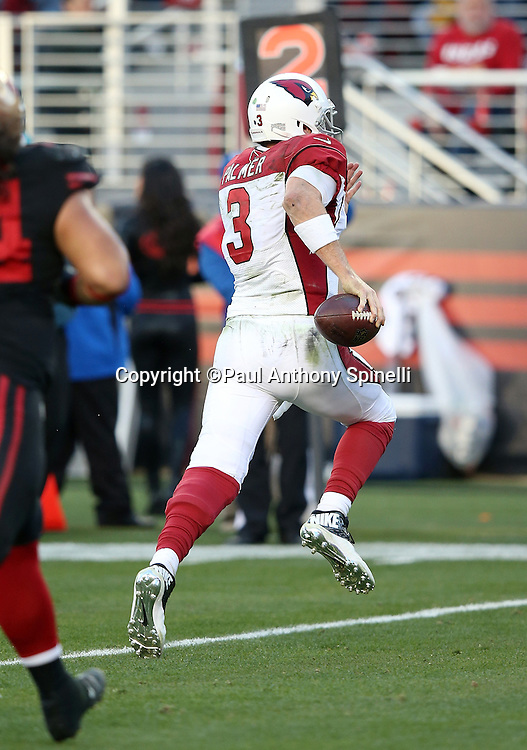 Arizona Cardinals quarterback Carson Palmer (3) runs for a late fourth quarter touchdown that gives the Cardinals a 19-13 lead during the 2015 week 12 regular season NFL football game against the San Francisco 49ers on Sunday, Nov. 29, 2015 in Santa Clara, Calif. The Cardinals won the game 19-13. (©Paul Anthony Spinelli)
