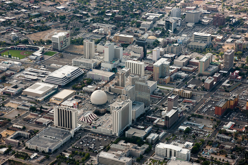 """""""Downtown Reno Aerial"""" - Downtown Reno, Nevada, photographed from a hot air balloon."""