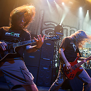 WASHINGTON, DC - January 23rd, 2012 - Willie Adler and John Campbell of the Richmond, VA-based heavy metal band Lamb of God perform at the 9:30 Club in Washington, D.C. The band released their seventh studio album, Resolution, earlier in the week. (Photo by Kyle Gustafson/For The Washington Post)