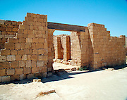 The Gate, Mamshit, Israel. Mamshit is the Nabatean city of Memphis. In the Nabatean period, Mamshit was important because it sat on the route from the Idumean Mountains to the Arava, continued on to Beersheva or to Hebron and Jerusalem. The city covers ten acres and is the smallest but best restored city in the Negev Desert. The once-luxurious houses have unusual architecture not found in any other Nabatean city.