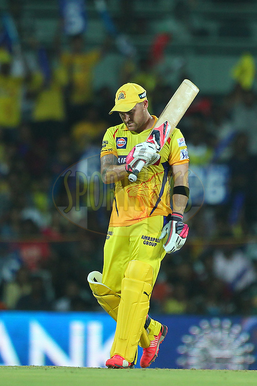 Brendon McCullum of the Chennai Superkings raises his bat to celebrate his fifty during match 47 of the Pepsi IPL 2015 (Indian Premier League) between The Chennai Superkings and The Rajasthan Royals held at the M. A. Chidambaram Stadium, Chennai Stadium in Chennai, India on the 10th May 2015.<br /> <br /> Photo by:  Ron Gaunt / SPORTZPICS / IPL