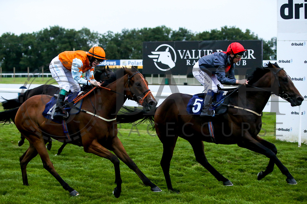 Pincely ridden by Martin Dwyer trained by Tony Newcombe and Essaka ridden by Sophie Ralston trained by Tony Carroll in the Visit Valuerater.co.uk for Best Free Tips Handicap - Mandatory by-line: Robbie Stephenson/JMP - 27/08/2019 - PR - Bath Racecourse - Bath, England - Race Meeting at Bath Racecourse
