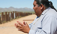 Verlon Jose, vice-chairman of the Tohono O'odham Nation, talks with reporters on the U.S. - Mexico border on the Tohono O'odham reservation in Chukut Kuk, Arizona April 6, 2017. Picture taken April 6, 2017.  REUTERS/Rick Wilking