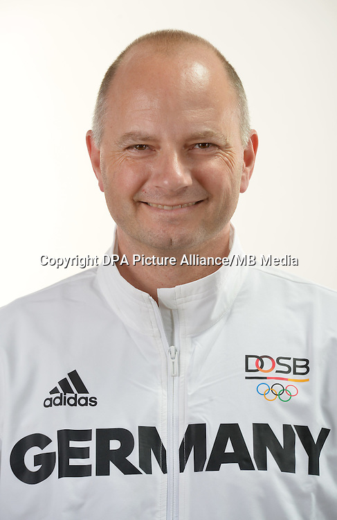 Richard Prause poses at a photocall during the preparations for the Olympic Games in Rio at the Emmich Cambrai Barracks in Hanover, Germany. July 04, 2016. Photo credit: Frank May/ picture alliance. | usage worldwide