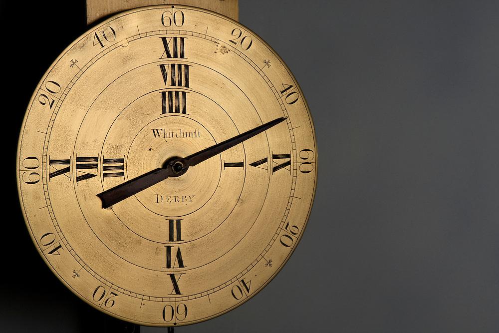 Antique mechanical Whitehurst clock at Derby museum.