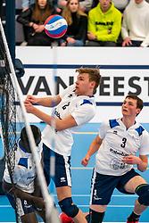 Rick van der Sluis #2 of Sliedrecht Sport, Marius den Hartog #3 of Sliedrecht Sport in action in the second round between Sliedrecht Sport and Draisma Dynamo on February 29, 2020 in sports hall de Basis, Sliedrecht