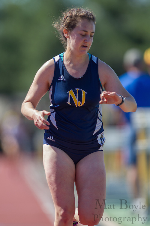 The College of New Jersey's Rachel Morris competes in the women's 5000 meter at the NJAC Track and Field Championships at Richard Wacker Stadium on the campus of  Rowan University  in Glassboro, NJ on Saturday May 4, 2013. (photo / Mat Boyle)