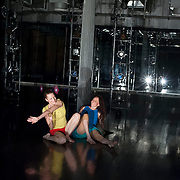 """September 18, 2012 - New York, NY : Photographed from backstage at stage right, Denisa Musilova, left, and Lindsey Dietz Marchant perform during a dress rehearsal of Tami Stronach's """"CLOSER"""" (work in progress) at Dance New Amsterdam in Manhattan on Tuesday night. CREDIT: Karsten Moran for The New York Times"""