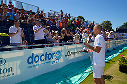 LIVERPOOL, ENGLAND - Sunday, June 18, 2017: Men's Champion Steve Darcis (BEL) with the trophy after winning the Men's Final during Day Four of the Liverpool Hope University International Tennis Tournament 2017 at the Liverpool Cricket Club. (Pic by David Rawcliffe/Propaganda)