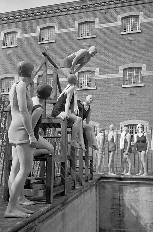 Girls at Swimming Pool, Borstal Institute, Aylesbury, Buckinghamshire, 1937