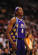 June 4, 2010; Phoenix, AZ, USA; Los Angeles Sparks forward DeLisha Milton-Jones reacts while playing the Phoenix Mercury during the first half at US Airways Center.  The Mercury defeated the Sparks 90-89.  Mandatory Credit: Jennifer Stewart-US PRESSWIRE