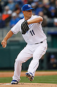 Kansas City Royals pitcher Jeremy Guthrie throws to home plate in the first inning of a baseball game against the Chicago White Sox at Kauffman Stadium in Kansas City, Mo., Saturday, May 4, 2013. Guthrie pitched a complete game, shutting out the White sox, 2-0. (AP Photo/Colin E. Braley).