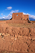 Morning light on the mission church and convento wall at Pecos Pueblo, Pecos National Historic Park, New Mexico