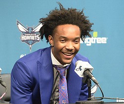 June 22, 2018 - Charlotte, NC, USA - Charlotte Hornets second-round draft pick Devonte' Graham during an introductory news conference at Spectrum Center in Charlotte, N.C., on Friday, June 22, 2018. (Credit Image: © David T. Foster Iii/TNS via ZUMA Wire)