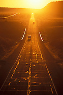 Old Route 66 at sunset, Near Seligman, Arizona, USA.