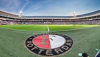 ROTTERDAM - Feyenoord - Olympiakos FC, Voetbal , Seizoen 2015/2016 , oefenwedstrijd , Stadion de Kuip , 01-07-2015 , Overzicht / panorama de kuip met feyenoord logo