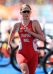 Wales' Non Stanford competes in the Women's Triathlon Final at the Southport Broadwater Parklands during day one of the 2018 Commonwealth Games in the Gold Coast, Australia. PRESS ASSOCIATION Photo. Picture date: Thursday April 5, 2018. See PA story COMMONWEALTH Triathlon. Photo credit should read: Mike Egerton/PA Wire. RESTRICTIONS: Editorial use only. No commercial use. No video emulation.