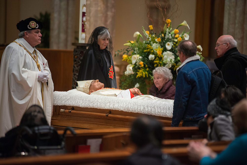 Photo by Michael R. Schmidt-Chicago, IL-April 21, 2015<br />Cardinal Francis George, eighth Archbishop of Chicago lay in state during a public visitation at Holy Name Cathedral.