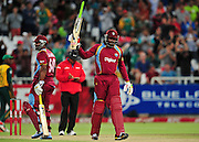 Chris Gayle of the West Indies goes to his 50 during the 2015 KFC T20 International game between South Africa and the West Indies at Newlands Cricket Ground, Cape Town on 9 January 2015 ©Ryan Wilkisky/BackpagePix